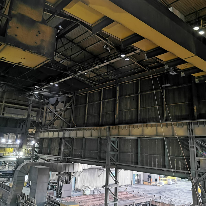IRATA rope access technicians working at height in steel plant